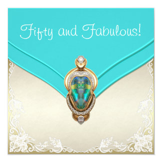 Teal Blue and Gold Birthday Party Card
