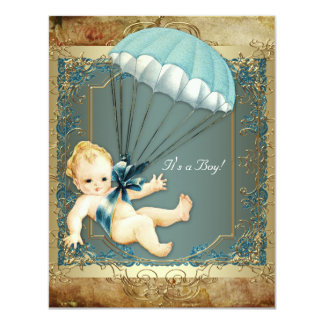 Teal Blue and Gold Boys Vintage Baby Shower Personalized Invites