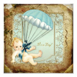 Teal Blue and Gold Boys Vintage Baby Shower Personalized Invitations