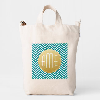 Teal Blue and Gold Chevrons Custom Monogram Duck Bag