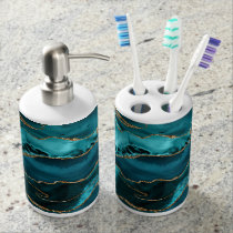 Teal Blue and Gold Glitter Agate Bath Set