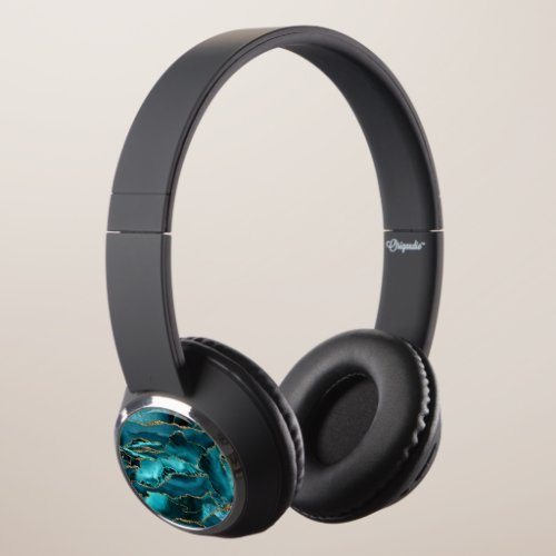 Teal Blue and Gold Glitter Agate Headphones