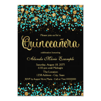 Teal Blue and Gold Quinceanera Card