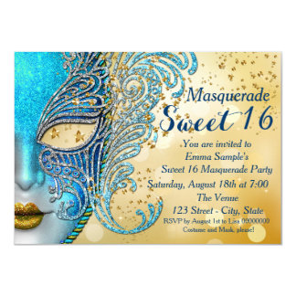 Teal Blue and Gold Sweet 16 Masquerade Party Card