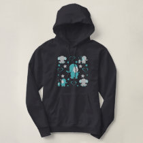 Teal Blue and Gray Baby Elephants Pattern Print Hoodie