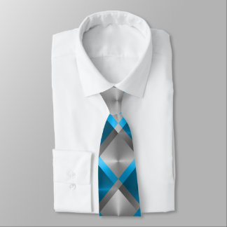Teal Blue and Gray Bold Geometric Pattern Neck Tie