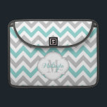 "Teal Blue and Gray Chevron Pattern with monogram. MacBook Pro Sleeve<br><div class=""desc"">Trendy and Modern Gray and Teal Blue Chevron zig zag Pattern with name and monogram.  Personalized Laptop Sleeves.  White and Gray Quatrefoil. 