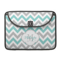 Teal Blue and Gray Chevron Pattern with monogram. MacBook Pro Sleeve
