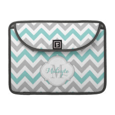 Teal Blue And Gray Chevron Pattern With Monogram. Macbook Pro Sleeve at Zazzle