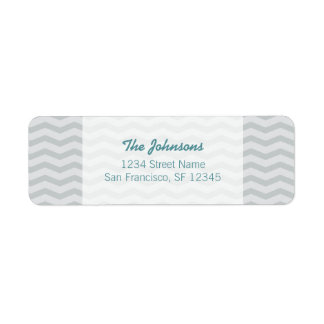 Teal blue and gray chevron Return Address Labels