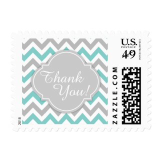 Teal Blue and Gray Chevron Thank You! Postage