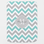 Teal Blue And Gray Chevron With Monogram Baby Blanket at Zazzle