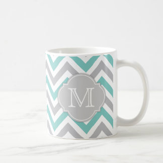 Teal Blue and Gray Chevron with Monogram Classic White Coffee Mug