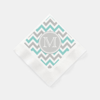 Teal Blue and Gray Chevron with Monogram Coined Cocktail Napkin