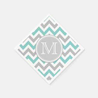 Teal Blue and Gray Chevron with Monogram Disposable Napkins