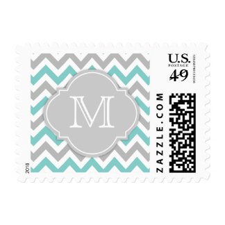 Teal Blue and Gray Chevron with Monogram Postage Stamp