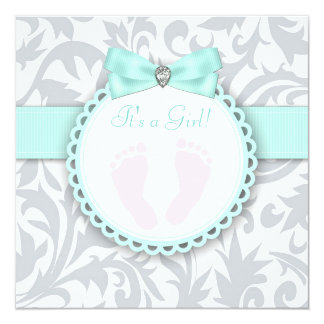 Teal Blue and Gray Footprint Baby Girl Shower Announcement