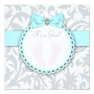 Teal Blue and Gray Footprint Baby Girl Shower Announcements