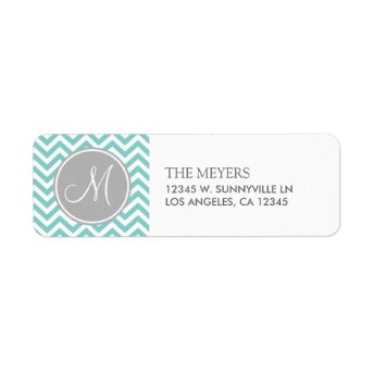 Teal Blue and Gray Modern Chevron with Monogram Custom Return Address Labels