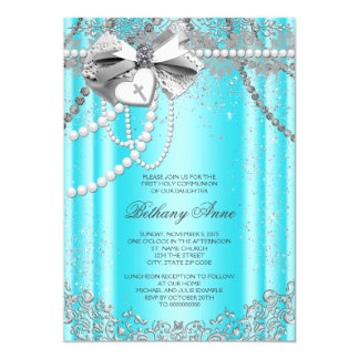Teal Blue and Gray Pearl First Communion 5x7 Paper Invitation Card