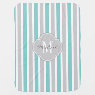 Teal Blue and Gray Stripes with Monogram Baby Blanket
