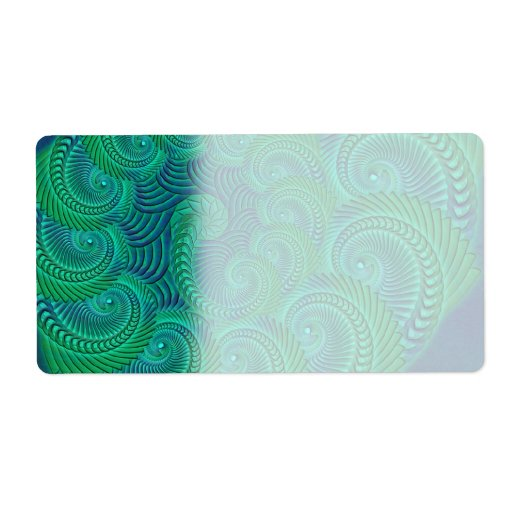 Teal, blue and green shell graphic. shipping labels