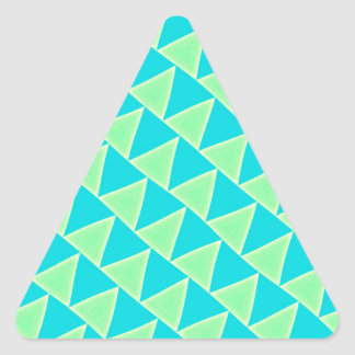 Teal Blue and Green Triangles Pattern Triangle Sticker