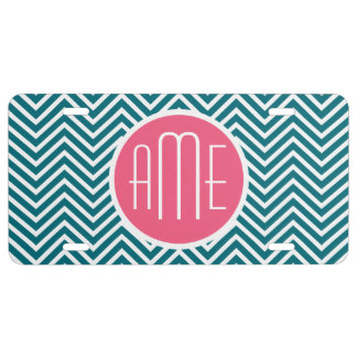 Teal Blue and Hot Pink Chevrons Custom Monogram License Plate
