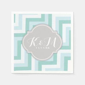 Teal Blue and Mint Green Chevron with Monogram Paper Napkin