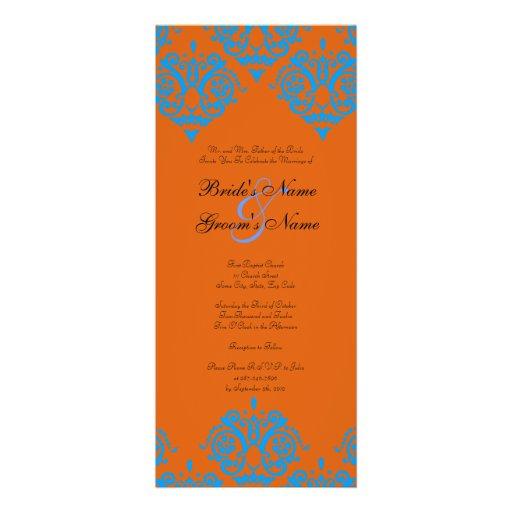 Teal Blue And Orange Damask Wedding Invitation Zazzle