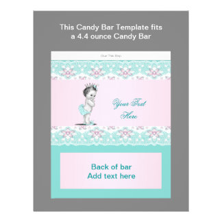 Teal Blue and Pink Baby Shower Candy Bar Wrapper Flyer