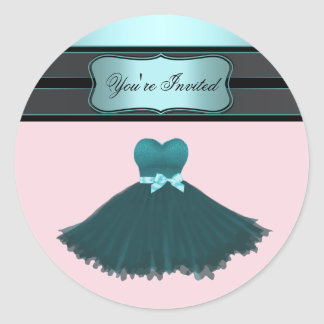 Teal Blue and Pink Birthday Party Sticker