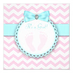 Teal Blue and Pink Footprint Baby Girl Shower Card
