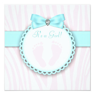 Teal Blue and Pink Footprint Baby Girl Shower 5.25x5.25 Square Paper Invitation Card