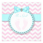 Teal Blue and Pink Footprint Baby Girl Shower Custom Invitations