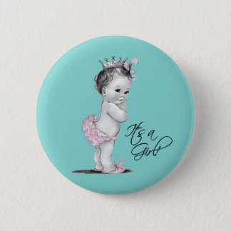 Teal Blue and Pink Princess Its a Girl Button