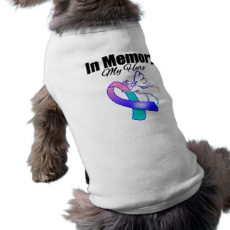 Teal, Blue and Pink Ribbon In Memory of My Hero Doggie T Shirt
