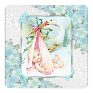 Teal Blue and Pink Stork Baby Shower Card