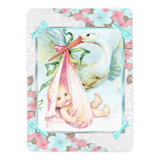 """Teal Blue and Pink Stork Baby Shower 5.5"""" X 7.5"""" Invitation Card"""