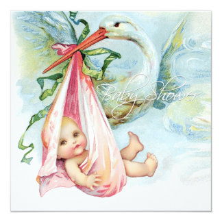 Teal Blue and Pink Vintage Stork Baby Shower Card