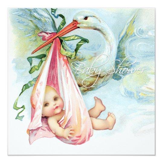 Teal Blue and Pink Vintage Stork Baby Shower Card