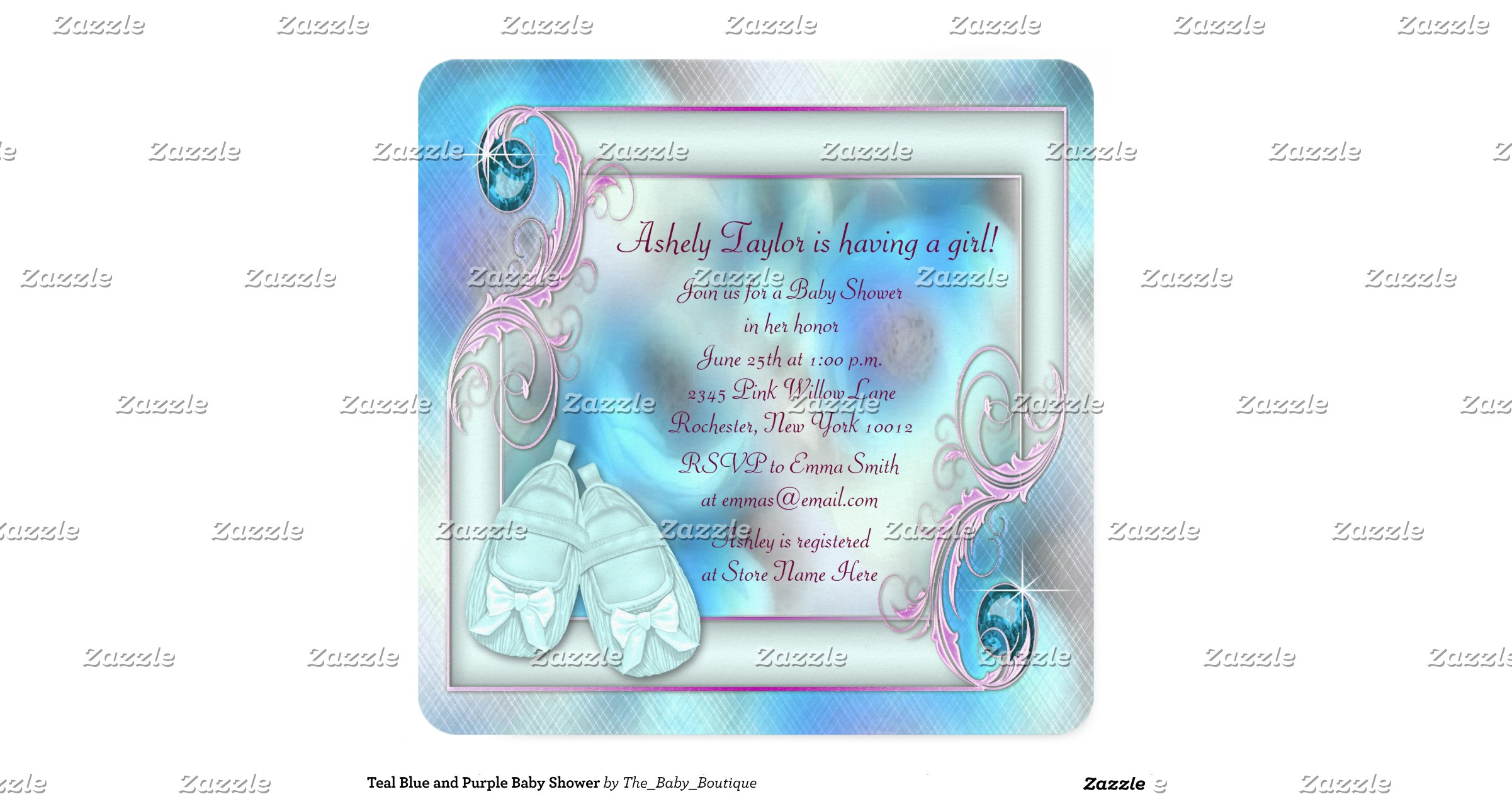 teal blue and purple baby shower invitation
