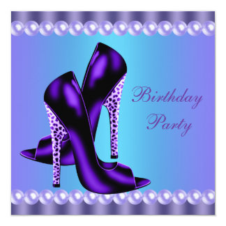Teal Blue and Purple Birthday Party Card