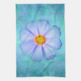 Teal Blue and Purple Daisy on Aqua Watercolor Hand Towel