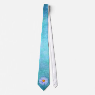 Teal Blue and Purple Daisy on Aqua Watercolor Neck Tie