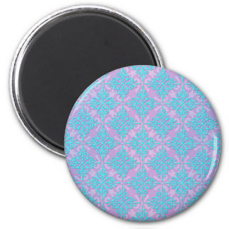 Teal Blue and Purple Damask Pattern 2 Inch Round Magnet