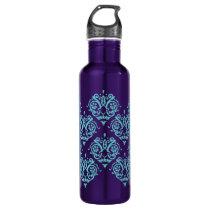 Teal Blue and Purple Elegant Damask Water Bottle