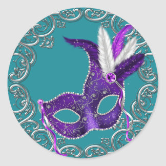 Teal Blue and Purple Masquerade Classic Round Sticker