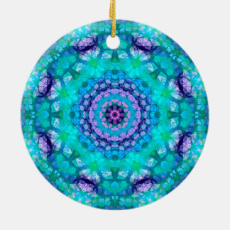 "Teal, Blue, and Purple ""Tropical Waters"" Mandala Double-Sided Ceramic Round Christmas Ornament"