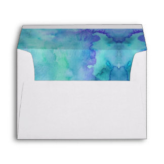 Teal Blue and Purple Watercolor Abstract Envelope